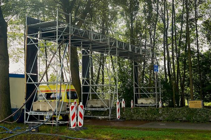 waterleiding- en kabelbrug sportevent